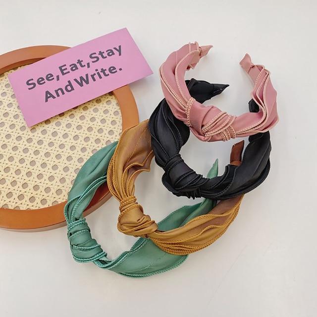 Фото женский обруч для волос oaoleer однотонный из атласной ткани