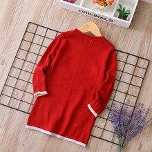 Специальное предложение, Рождественский, новогодний жаккардовый свитер средней длины для девочек, юбка г., осенне-зимний стиль, детский хлопок
