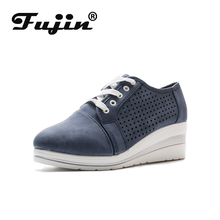 Fujin Ladies Smealers Fashion Casual Shoes Fall New Female Slope Heel Breathable Platform Woman Wedge Sneakers