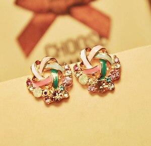 Image 1 - Kolorowe kolczyki Rhinestone Hot koreański Fashion Lady Temperament bankiet ślubny wykwintna biżuteria prezent hurtowo