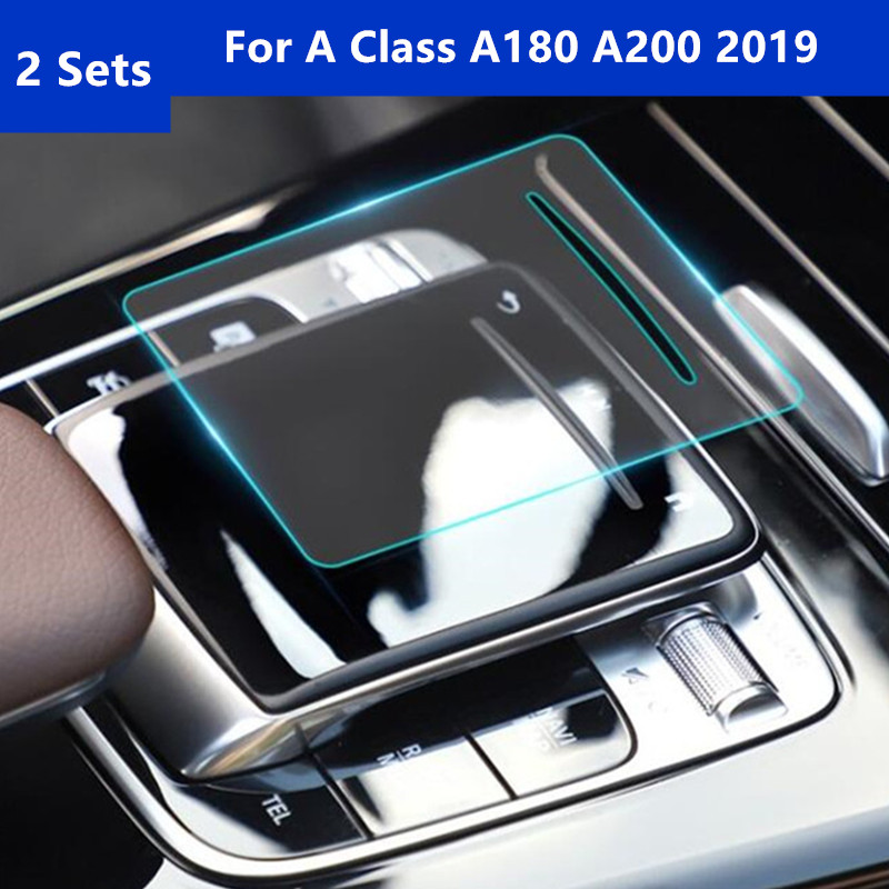 2 Sets Center Console Handwriting Mouse Protective Film For Mercedes Benz A Class A180 <font><b>A200</b></font> <font><b>2019</b></font> Car Body Gear Shift Stickers image
