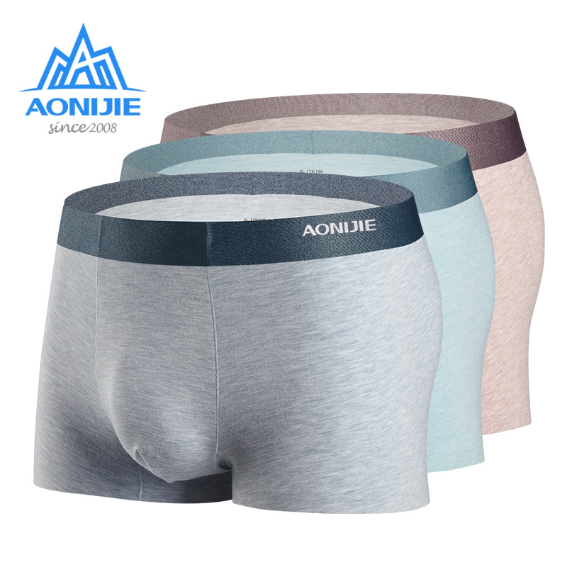 AONIJIE 3 Packs EF005 Quick Dry Men's Sport Performance Boxer Briefs Underwear Micro Modal Mulberry Silk With Metal Gift Box
