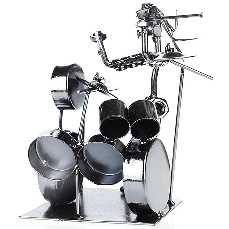 Metal Musician Drummer Statue Drummer and Drum Set Sculpture Doll Decoration Cafe Counter Office Bookcase Decoration|Figurines & Miniatures| |  - title=