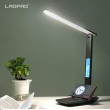 Modern iş Led ofis masa lambası dokunmatik dim katlanabilir takvim sıcaklık çalar saat masa okuma ışığı LAOPAO