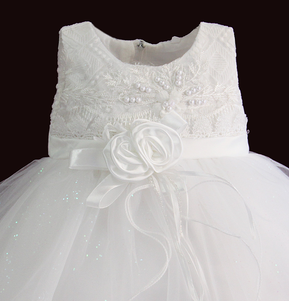 Zoeflower New Style Embroidery Lace Girls' Princess Skirt Banquet Birthday Formal Dress White