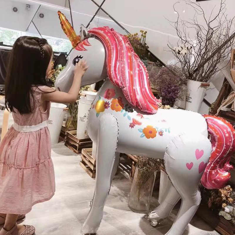 Eenhoorn Decoraties Birthday Party Decor Kids 3D Lopen Giant Unicornio Dier Folie Ballonnen Meisjes Levert