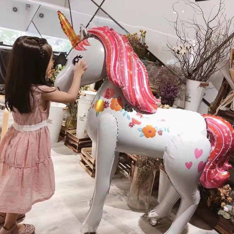 Unicorn Party Decorations Birthday Party Decor Kids 3D Walking Giant Unicornio Animal Foil Balloons Girls Supplies