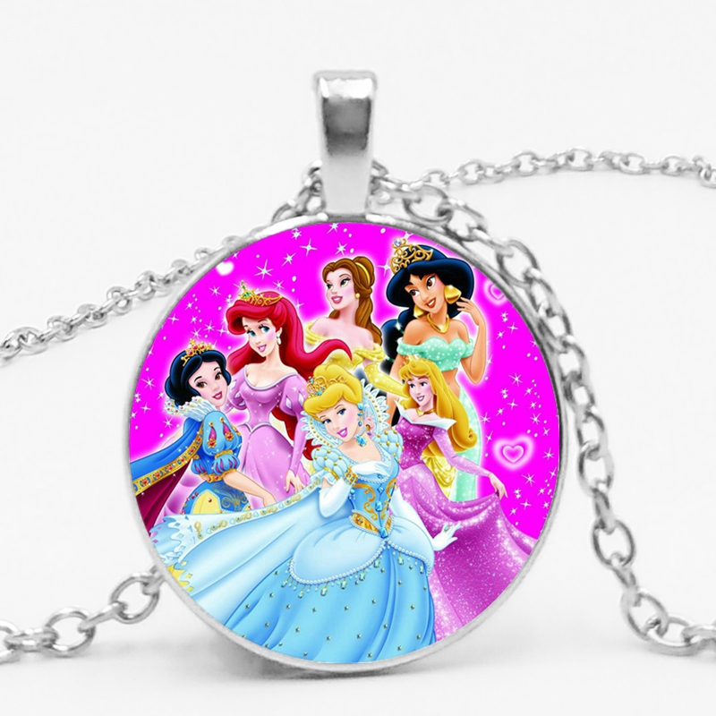 HOT! 2019 Novo Cristal De Vidro Redonda Cinderela Princesa Snow Queen Elsa Anna Pingente Menina Senhoras de Cadeia Longa Colar de Jóias
