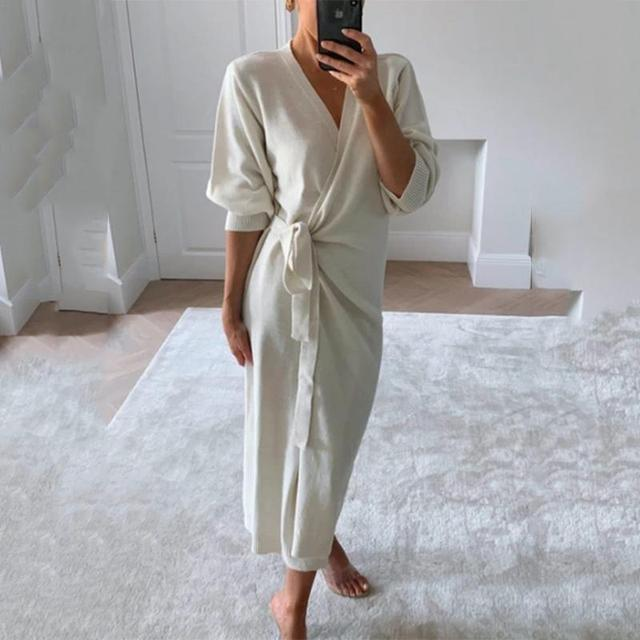 Autumn And Winter Women Kitted Dress Elegant Casual V -Neck Long Sleeve Midi Dress Solid Loose Split Side Sexy Dresses 6