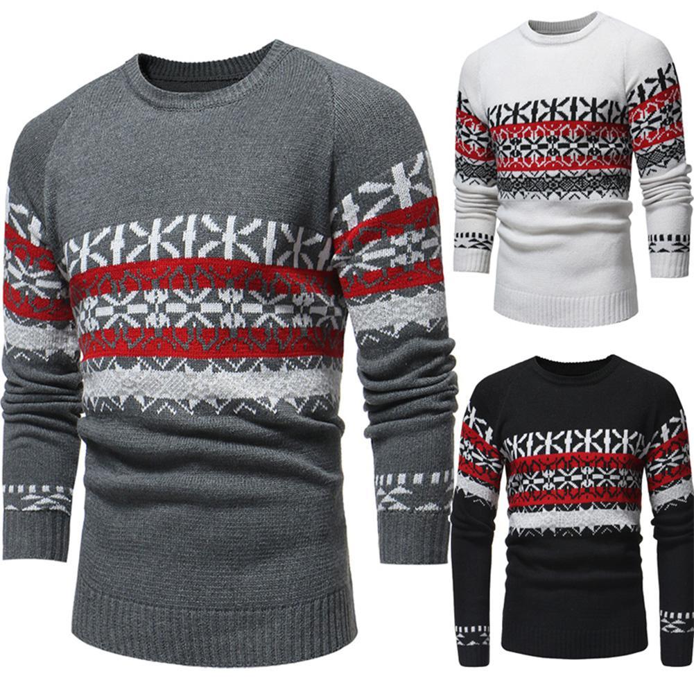 GloryStar Autumn Winter Men Christmas Snowflake Warm Sweater Knitting Crew Neck Casual Pullover Ropa Navidad Christmas Clothes