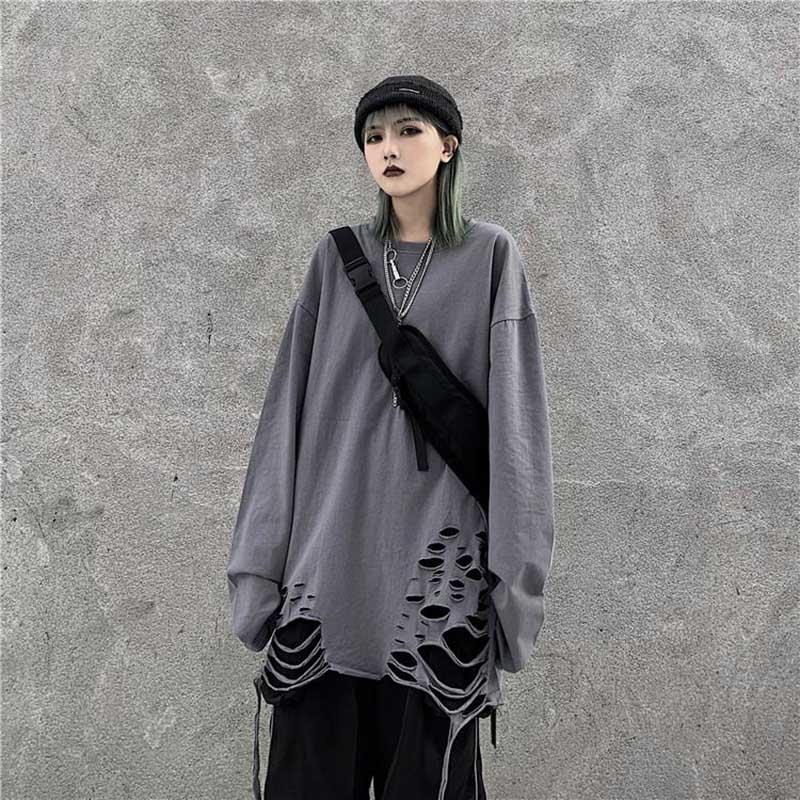 NiceMix Harajuku, футболка с дырками, женская, круглый вырез, длинный рукав, женские футболки в стиле панк, топы, футболки, одноцветные, в стиле хип-хо...