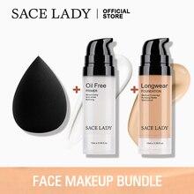 SACE LADY, профессиональный набор для макияжа, матовая основа, Праймер, основа, макияж, набор, контроль над маслом, поры, жидкий крем, брендовый косметический спонж