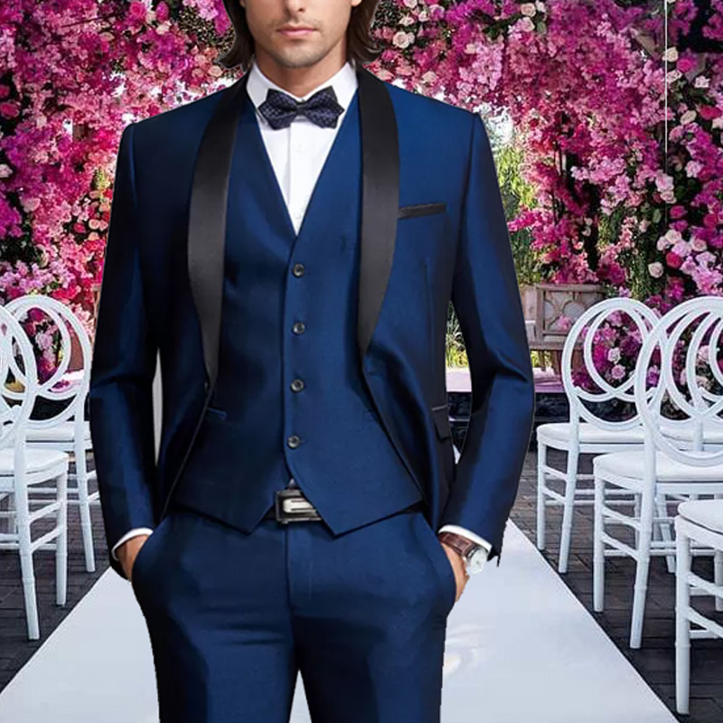 Blue Tuxedos Mens Suits Men 3 Pieces Formal Prom Blazer  Shawl Lapel For Wedding Groom Man ( Jacket+Vest+Pants) Dinner Party