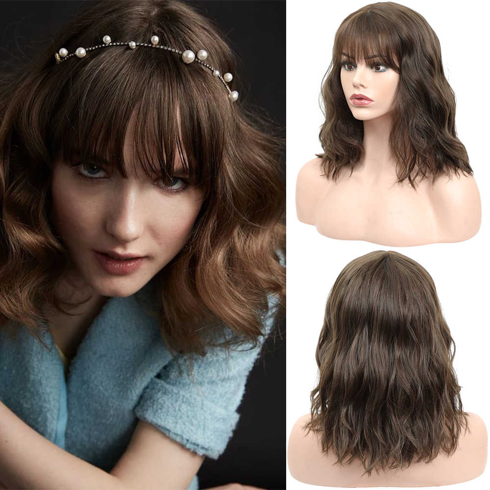 X-TRESS Ash Brown Colored Synthetic Hair Wigs For Women Girls Short Bob Natural Wave Fluffy Soft Machine Made Wig With Air Bangs