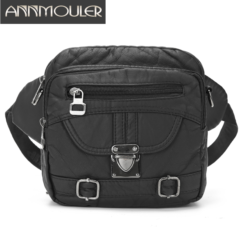 Annmouler Newest Waist Bag For Women Black Fanny Pack Large Capacity Chest Bag Multi-funtion Ladies Small Shoulder Crossbody Bag