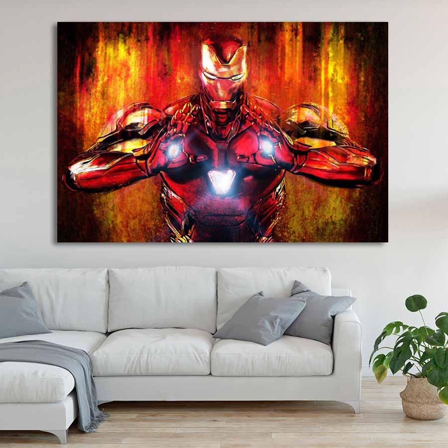 Современная Настенная живопись Мстители персонаж эндшпиль Железный человек Тор Капитан Америка постеры картина холст домашний декор - Цвет: Цвет: желтый