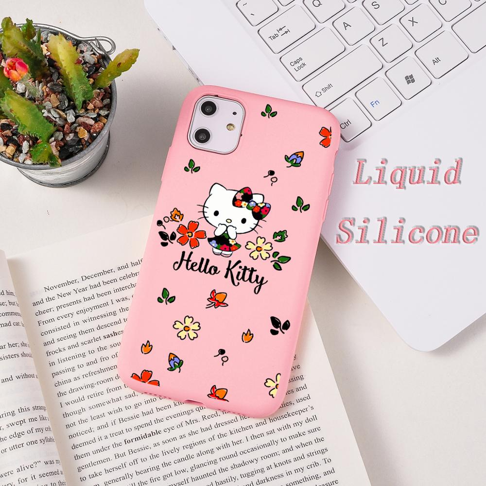 Soft <font><b>Case</b></font> For <font><b>iPhone</b></font> 11 Pro Max X 7 <font><b>8</b></font> Plus Cute Cat Hello Kitty Liquid <font><b>Silicone</b></font> Cover Candy Color Coque Capa For <font><b>iPhone</b></font> <font><b>8</b></font> 6 6s image
