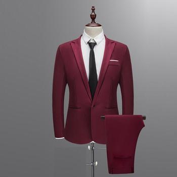Suit suit male 2019 spring and autumn high-end custom business blazers Two-piece / Slim large size multi-color boutique suit 1