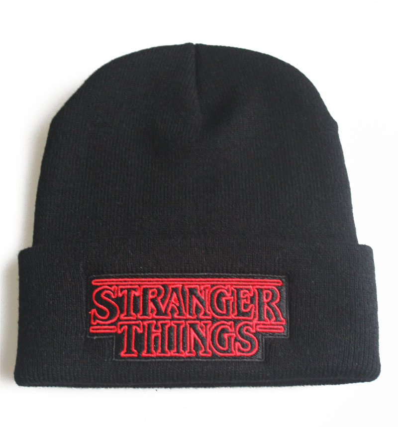 Men Fashion Winter Wool Beanie Hat STRANGER THINGS Letters Embroidery Knit Cap Word Outdoor Riding Hip-hop Black Casual Warm Hat