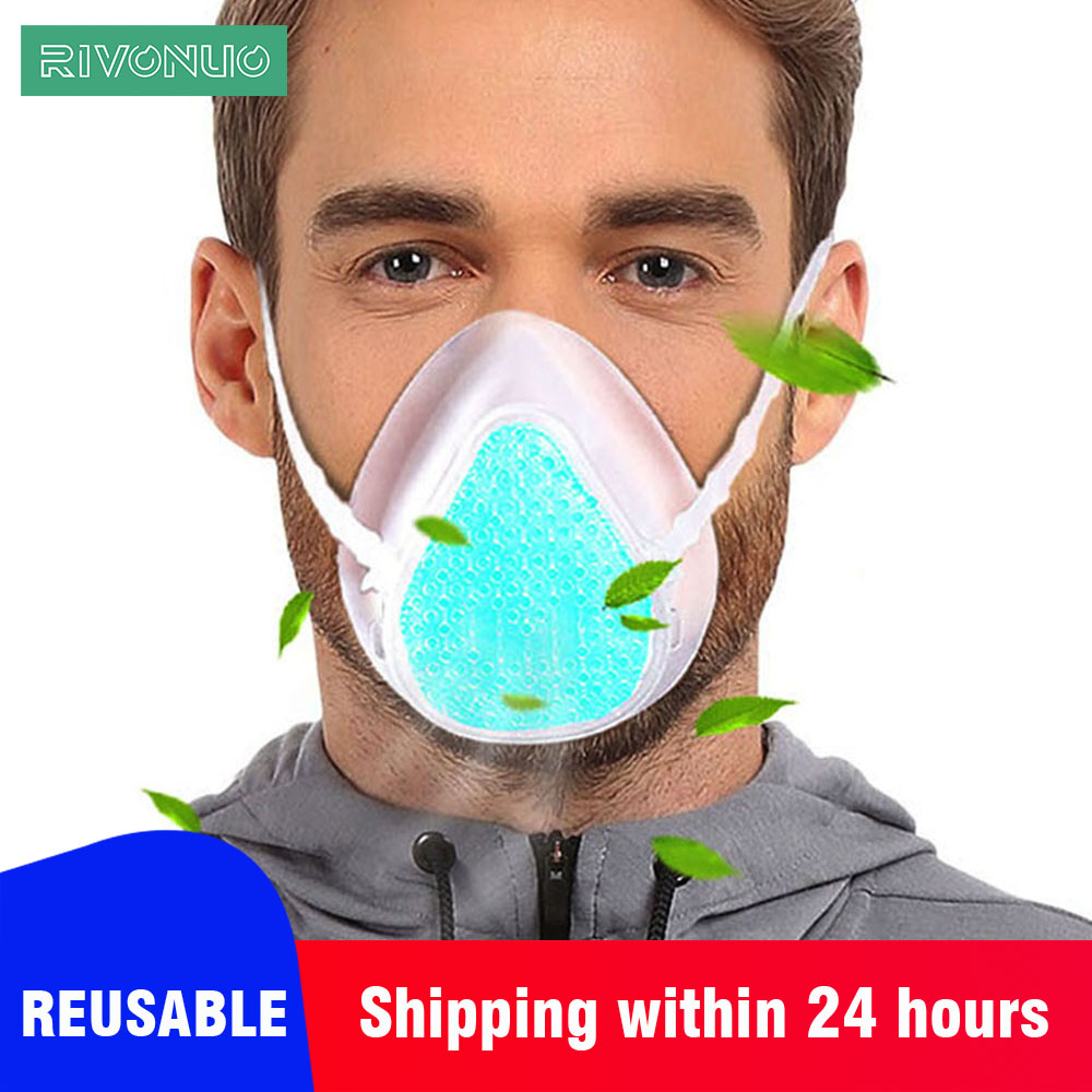 Reusable Washable Food Grade Silicone Pollution Air Purifier Fashion Half KN95 Face Mask For Germs Allergies Pollution