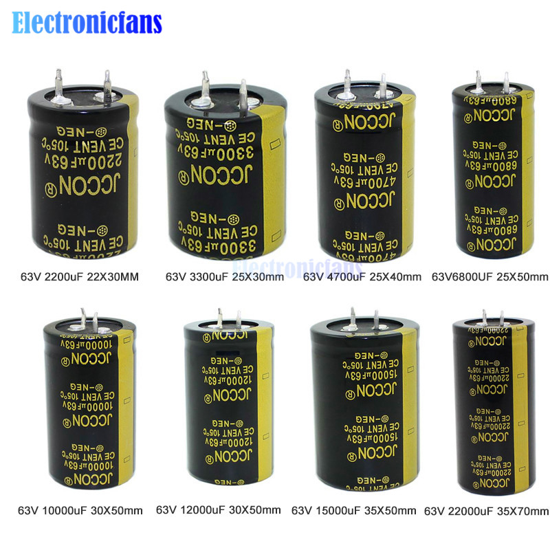 63V 2200uF 3300uF 4700uF 6800UF 10000uF 12000uF 15000uF 22000uF Aluminum Electrolytic Capacitor Through Hole Capacitor