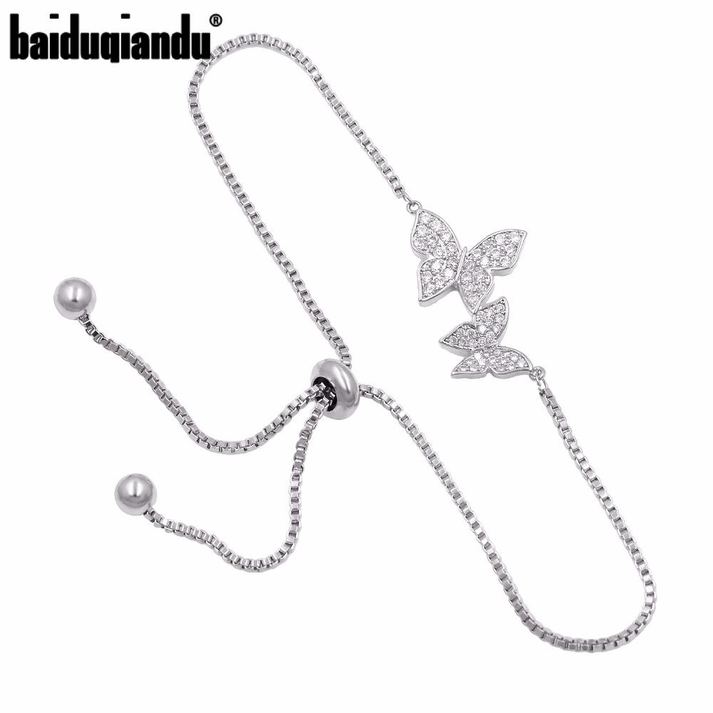 Bridal Jewelry Cubic Zirconia Crystal CZ Butterfly Adjustable Bracelet for Women in Silver Color or Rose Gold Color