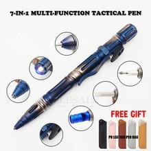 NEUE 7 In 1 Outdoor EDC Multi Funktion Selbstverteidigung Tactical Pen Mit Notfall Led Licht Pfeife glas Breaker Outdoor Survival