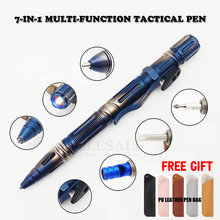 NEW 7 In 1 Outdoor EDC Multi Function Self Defense Tactical Pen With Emergency Led Light Whistle Glass Breaker Outdoor Survival