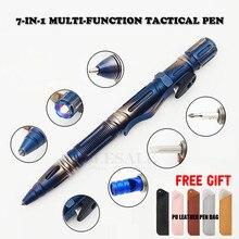 Nieuwe 7 In 1 Outdoor Edc Multifunctionele Zelfverdediging Tactische Pen Met Emergency Led Licht Fluitje glas Breaker Outdoor Survival