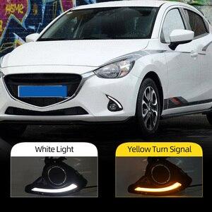Image 2 - 1 סט DRL למאזדה 2 Mazda2 Demio 2015 2016 2017 LED DRL בשעות היום ריצת אורות ערפל אור כיסוי צהוב אות