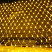 BEIAIDI 2x2 м 3x2 м 6x4 м светодиодный сетчатый Сказочный светильник гирлянда оконная занавеска Рождественский Сказочный светильник для свадебной вечеринки праздничный светильник