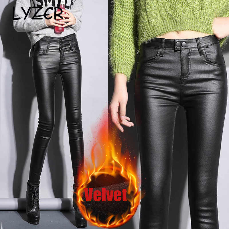 Leder Winter leggings Samt Frauen Hohe Taille frauen PU Faux Leder Hosen Dünne Leder leggins Hosen Stretch Leggings