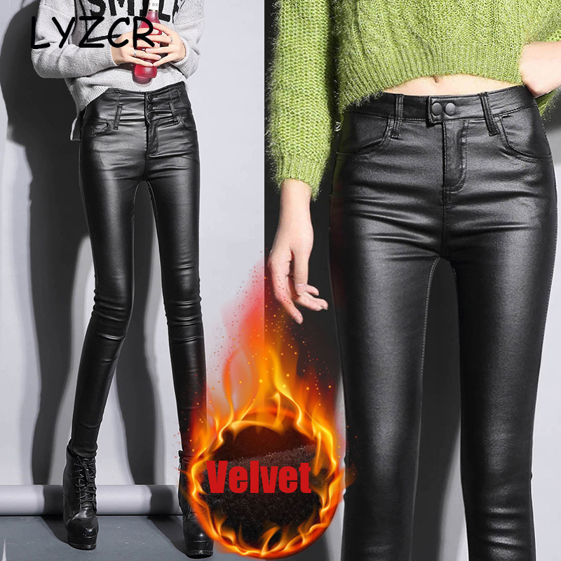 Leather Winter   leggings   Velvet Women High Waist Women's PU Faux Leather Pants Skinny Leather leggins Trousers Stretch   Leggings