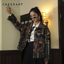 CHEERART Vintage Jacket Women Brocade Printed Ethnic Coat Designer Autumn And Coats 2019 Outwear Fashion Clothing