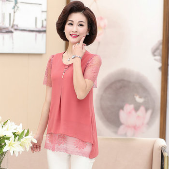 цена на Red Blue Green Lace Short Sleeve Blouse Women Summer Round Collar Layered Tops Female Casual Patchwork Thin Blouse Plus Size New