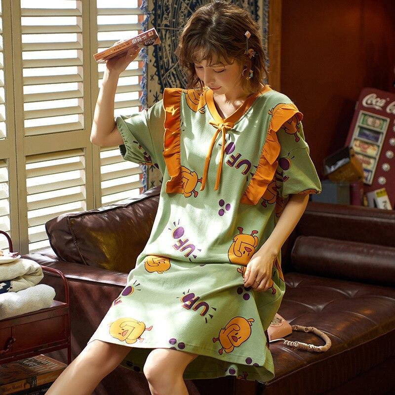 2020 New Spring Summer Nightdress Lovely Women's Sleepwear Soft Cotton Casual Home Wear Cartoon Ladies Nightwear Big Size Pijama 2
