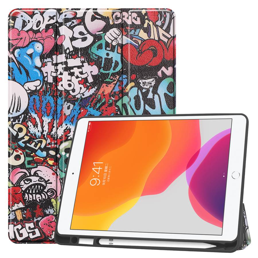 TY White Slim Smart PU Leather Case For Apple iPad 10 2 2019 with Pencil Holder Cover For
