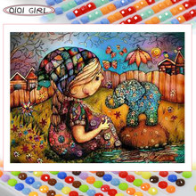 QIQI GIRL Square Round Diamond Painting Set Cartoon Anime Elephant Gift Embroidery Mosaic Children Kids handicrafts