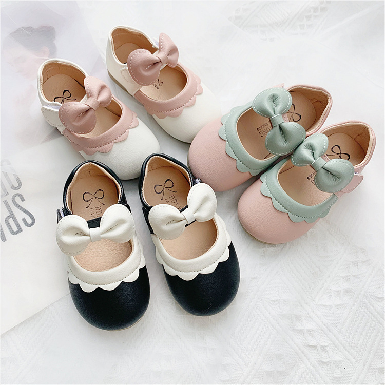 Spring 2020 New Girl Leather Shoes Korean Soft Children Baby Princess Shoes  Contrast Color Fungus Toddler Girl Baby Bean Shoes