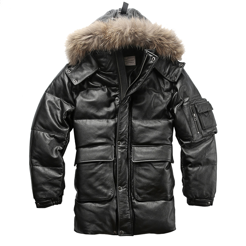 2135 Read Description! Quality Super Warm Genuine Cow Skin Duck Down Leather Jacket Mens Cowhide Leather Duck Down Coat