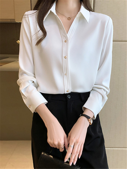 Spring Loose Temperament Vertical Sense Blouse Metal Buttons Fashion Women's Long-sleeved White High-end Satin Chiffon Shirt 6