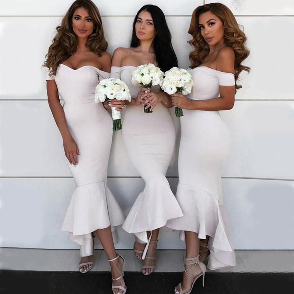 Vestido Para Festa 2019 Wedding Guest Dresses Sweetheart Ruffles Mermaid Bridesmaid Dress Elegant Off Shoulder Bridesmaid Gowns