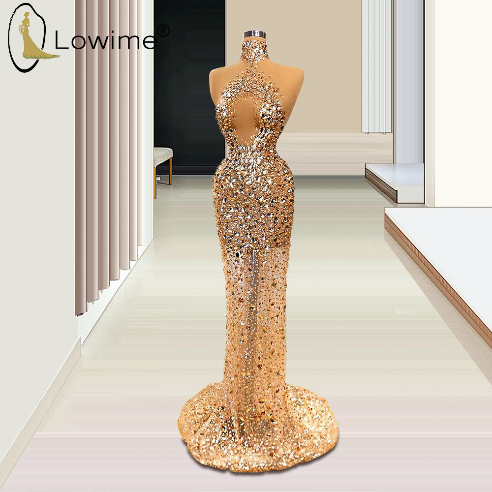 Rose Gold High Neck Mermaid Evening Dresses 2020 Luxury Illusion Crystal Beaded Jurken Vestido De Soiree Formal Dress For Party