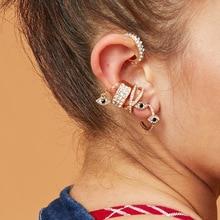 6pcs set ZA 2020 Fashion Cross Evil Eye No Pierced Small Earring Women Ear