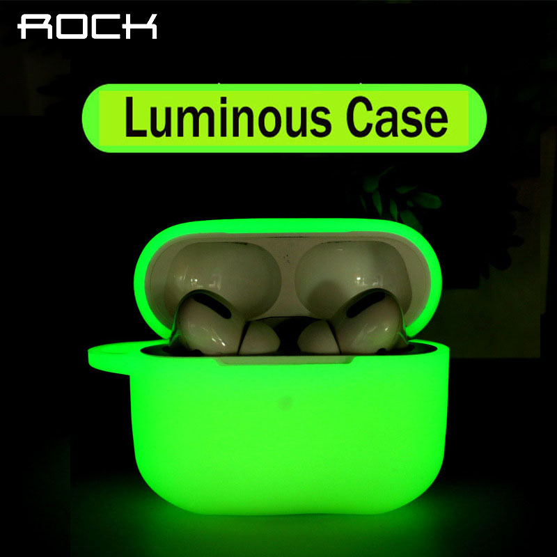 ROCK Protective Case For Apple Airpods Pro Luminous Full Cover For Sleeve Bluetooth Earphone Earbuds Air Pods 3 Cases Bag Box