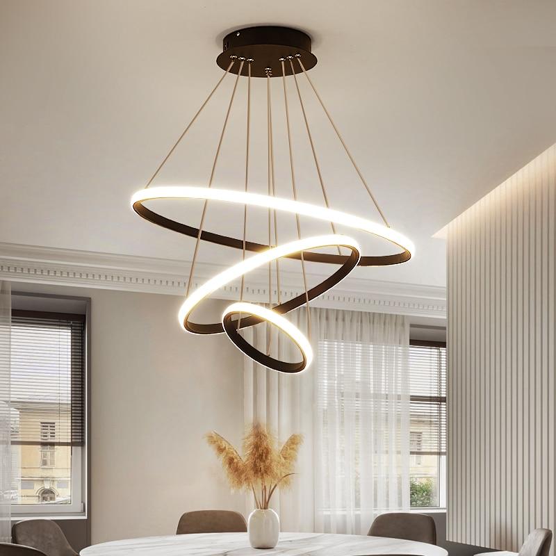 Modern Led kolye lamba oturma yemek odası siyah daire halka asılı avizeler ışıkları ev mutfak Loft aydınlatma armatürü