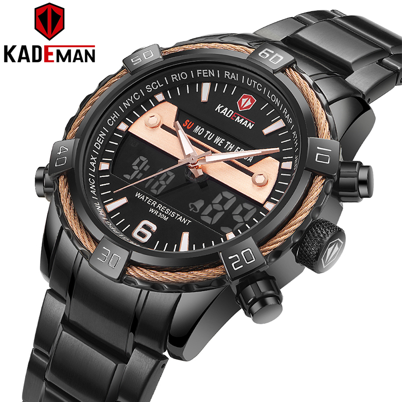 KADEMAN Luxury Men Watch LCD Display Digital Watch Military Sports Wristwatches TOP Brand 3ATM Stainless Steel Relogio Masculino