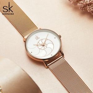 Image 3 - Shengke Vrouwen Mode Shell Creative Dial Japanse Quartz Horloge Lady Rosegoud Mesh Armband Waterdicht Horloge Montre Femme