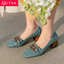 Female Shoes Med Heels Square Women Pumps QUTAA Elegant Genuine-Leather Summer Size-34-42