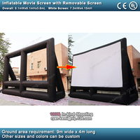 8.1mWx6.1mH giant inflatable movie screen with removable screen outdoor large inflatable cinema 16:9 projection film screen